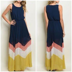 Dresses & Skirts - Vibrant NAVY CHEVRON MAXI DRESS